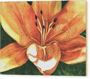 Wood Print featuring the painting Lilly Of The Garden by Sharon Mick