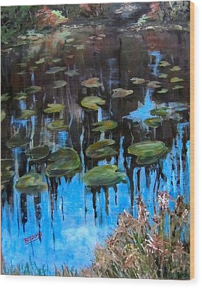 Lilly Pads And Reflections Wood Print