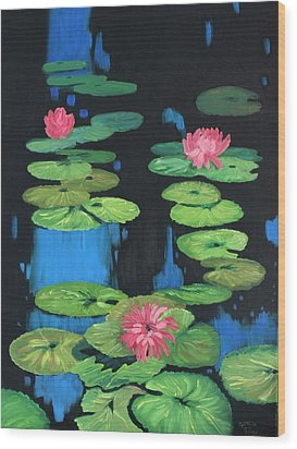 Lilly Pond Wood Print by Cynthia Riley