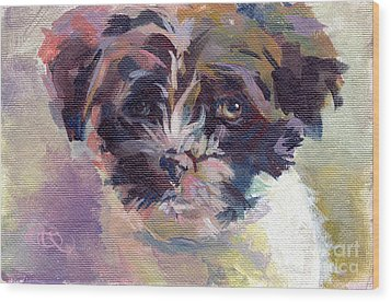 Lilly Pup Wood Print by Kimberly Santini