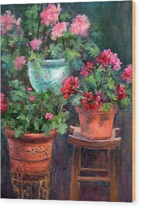 Lil's Geraniums Wood Print