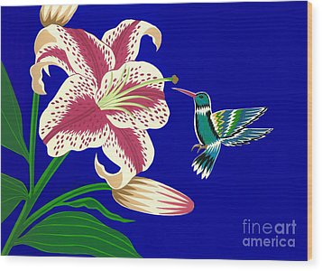 Lily And Hummingbird Wood Print by Lucyna A M Green