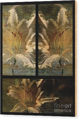 Lily Collage Wood Print by Lois Bryan