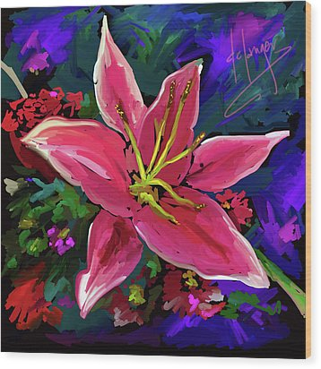 Wood Print featuring the painting Lily by DC Langer