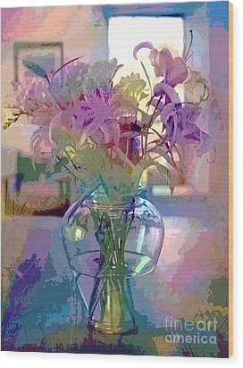 Lily Flowers In Glass Wood Print by David Lloyd Glover