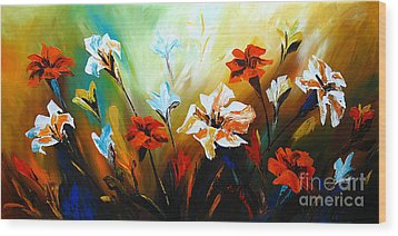 Lily In Bloom Wood Print by Uma Devi