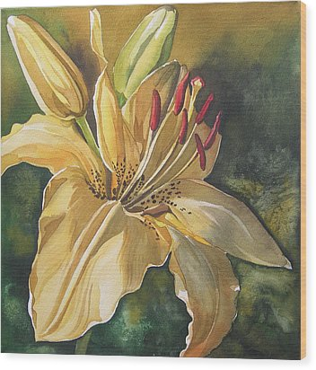 Lily In Yellow Wood Print by Alfred Ng