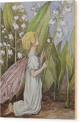 Lily Of The Valley Fairy After Cicely Mary Barker Wood Print by Betty-Anne McDonald