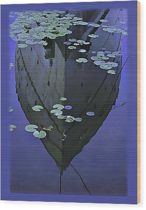 Lily Pads And Reflection Wood Print by John Hansen