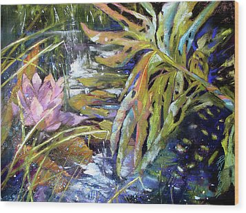 Lily Pond Light Dance Wood Print by Rae Andrews