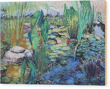 Wood Print featuring the painting Lily Pond by M Diane Bonaparte