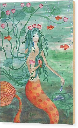 Lily Pond Mermaid With Goldfish Snack Wood Print by Sushila Burgess