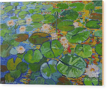 Lily Pond Reflections Wood Print by Ana Maria Edulescu