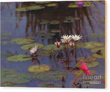 Lily Pond Watercolor Wood Print