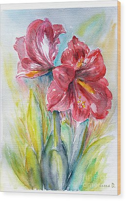 Wood Print featuring the painting Lily Red by Jasna Dragun