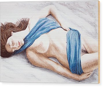 Wood Print featuring the painting Lily-when Angels Sleep by Joseph Ogle