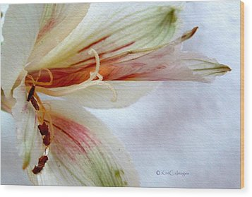 Wood Print featuring the digital art Lily With Texture by Kae Cheatham