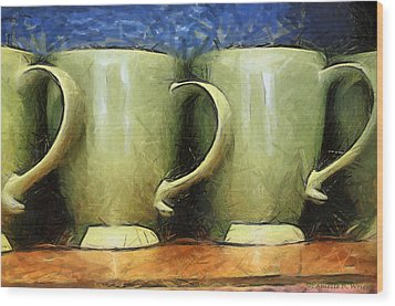 Lime Green Cups Wood Print by Paulette B Wright