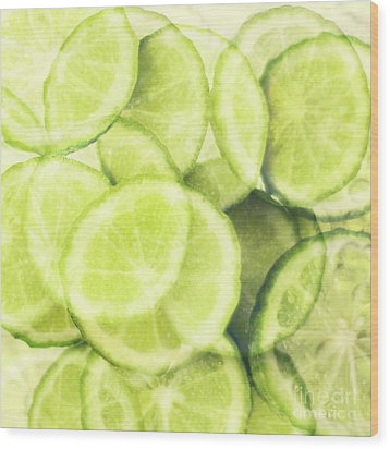 Lime Slices Wood Print by Linde Townsend
