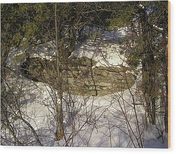 Limestone And Snow Wood Print by Richard Mitchell