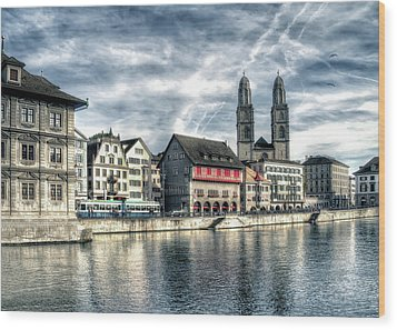 Wood Print featuring the photograph Limmat Riverfront by Jim Hill