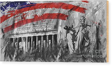 Wood Print featuring the painting Lincoln Abe by Gull G