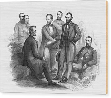 Lincoln And His Generals Black And White Wood Print by War Is Hell Store