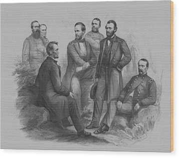 Lincoln And His Generals Wood Print by War Is Hell Store