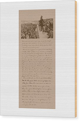 Lincoln And The Gettysburg Address Wood Print by War Is Hell Store