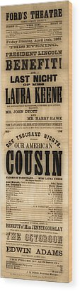 Lincoln Assassination Wood Print by Andrew Fare