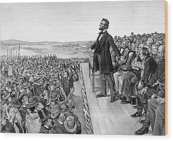 Lincoln Delivering The Gettysburg Address Wood Print by War Is Hell Store