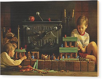Lincoln Logs Wood Print by Greg Olsen