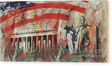 Lincoln Memorial And Lincoln Statue Wood Print by Gull G