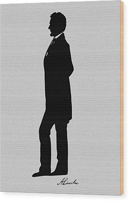 Lincoln Silhouette And Signature Wood Print by War Is Hell Store