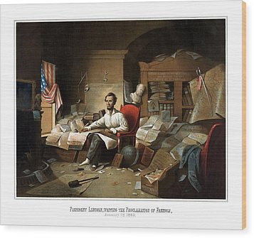 Lincoln Writing The Emancipation Proclamation Wood Print by War Is Hell Store