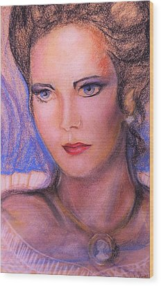 Wood Print featuring the pastel Linda Carter by Denise Fulmer