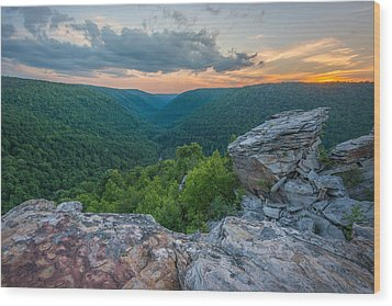 Canaan Valley West Virgina Lindy Point Sunset Wood Print by Rick Dunnuck