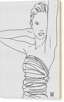 Wood Print featuring the drawing Line Art Lady by Giuseppe Cristiano