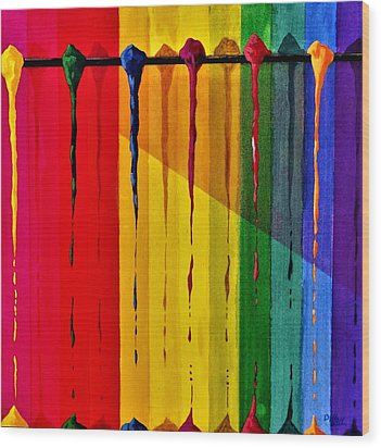 Line Of Fall Colors Wood Print