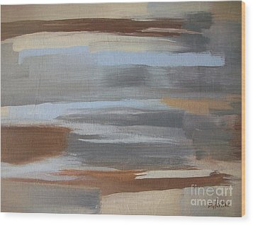 Linear Browns And Blues Wood Print by Marsha Heiken