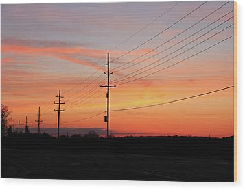 Lineman's Sunset Wood Print by Rachel Cohen