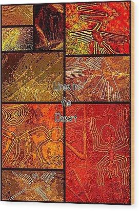 Lines In The Desert Wood Print