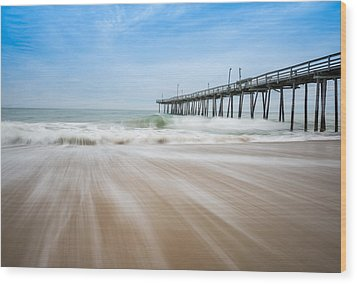 Outer Banks North Carolina Pier  Wood Print by Rick Dunnuck