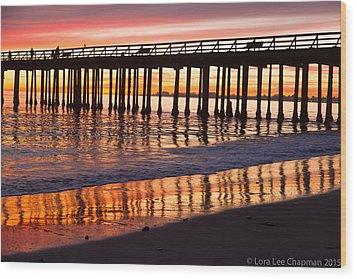 Sunset Seacliff Shadows Wood Print by Lora Lee Chapman