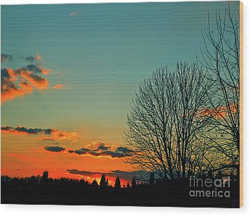 Linvilla Sunset Wood Print by Sandy Moulder