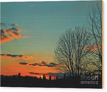 Linvilla Sunset Wood Print