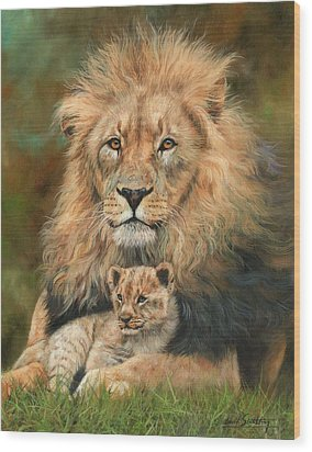 Lion And Cub Wood Print by David Stribbling