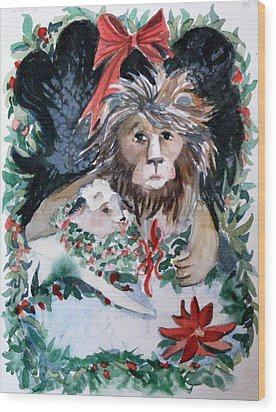 Lion And Lamb Wood Print by Mindy Newman