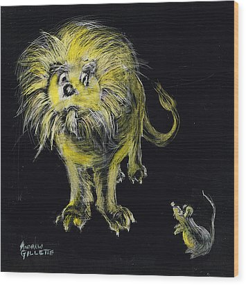 Lion And The Mouse Wood Print