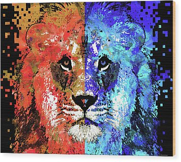Lion Art - Majesty - Sharon Cummings Wood Print by Sharon Cummings
